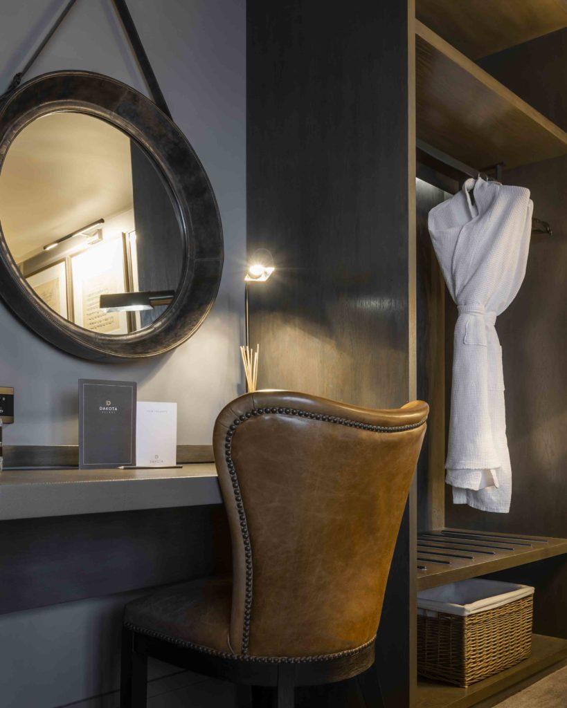 Dakota Hotel Glasgow Classic Bedroom seating and wardrobe